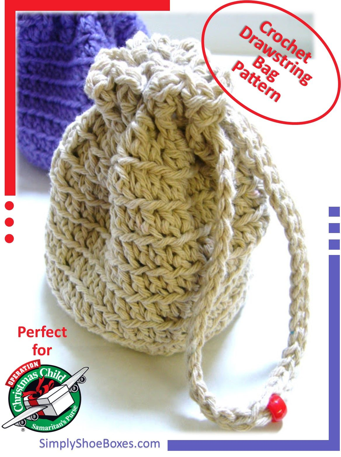Simple Crocheted Stand-up, Drawstring Bag Instructions | Pinterest ...