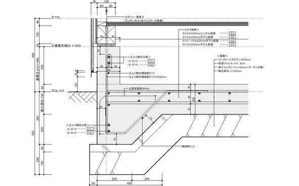 基礎配筋の検討 施工図 都市設計 詳細図面