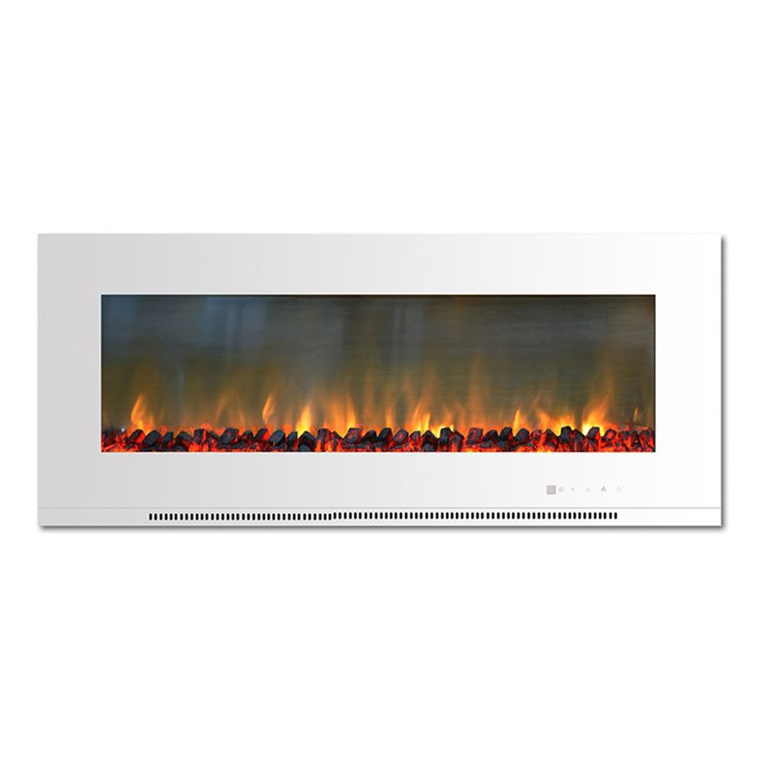 Electric Fireplace Metropolitan Wall Mount White 56 Inch Logs