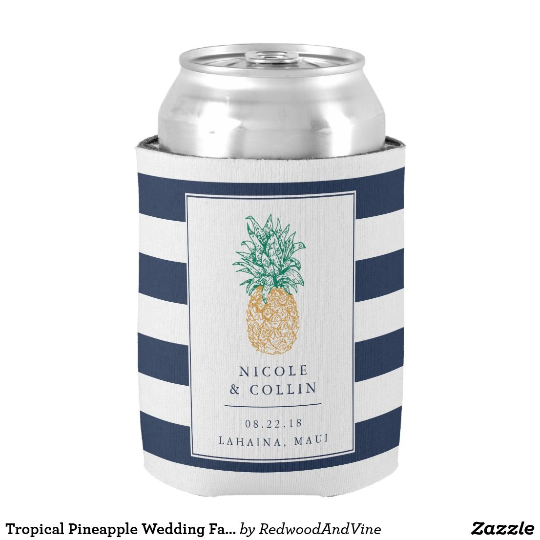 Tropical Pineapple Wedding Favor Can Cooler | Favors, Wedding ...