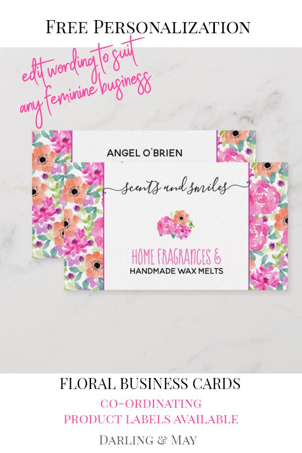 Pretty Handmade Wax Melts Watercolor Floral Business Card Zazzle Com Floral Business Cards Handmade Wax Melts Floral Watercolor