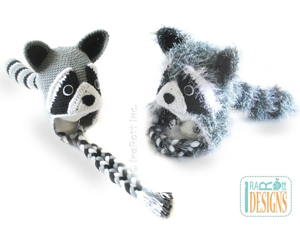 Rocky and Ricki the Raccoons PDF Crochet Hat Pattern | Mapache ...