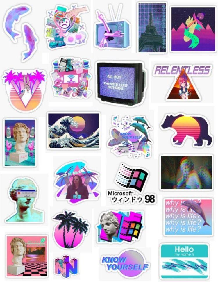Vaporwave Stickers Tumblr Stickers Vaporwave Cute Stickers