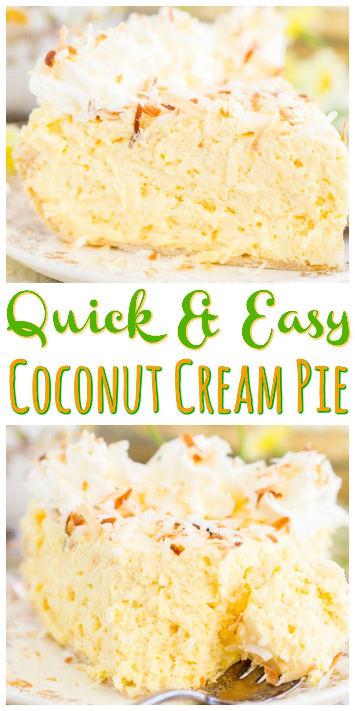No Bake Coconut Cream Pie #easypierecipes
