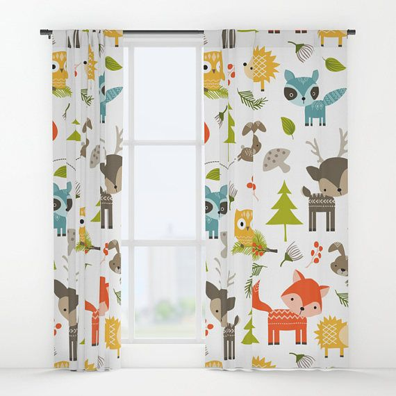 Check Out Animals Curtains Woodland Window Drapes Kids Curtain Forrest Panels Childrens