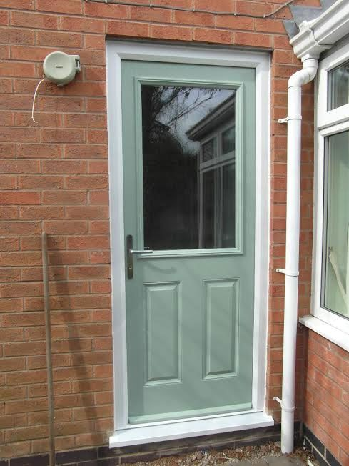 2 Panel 1 Square Glazed Composite Back Door In Chartwell Green