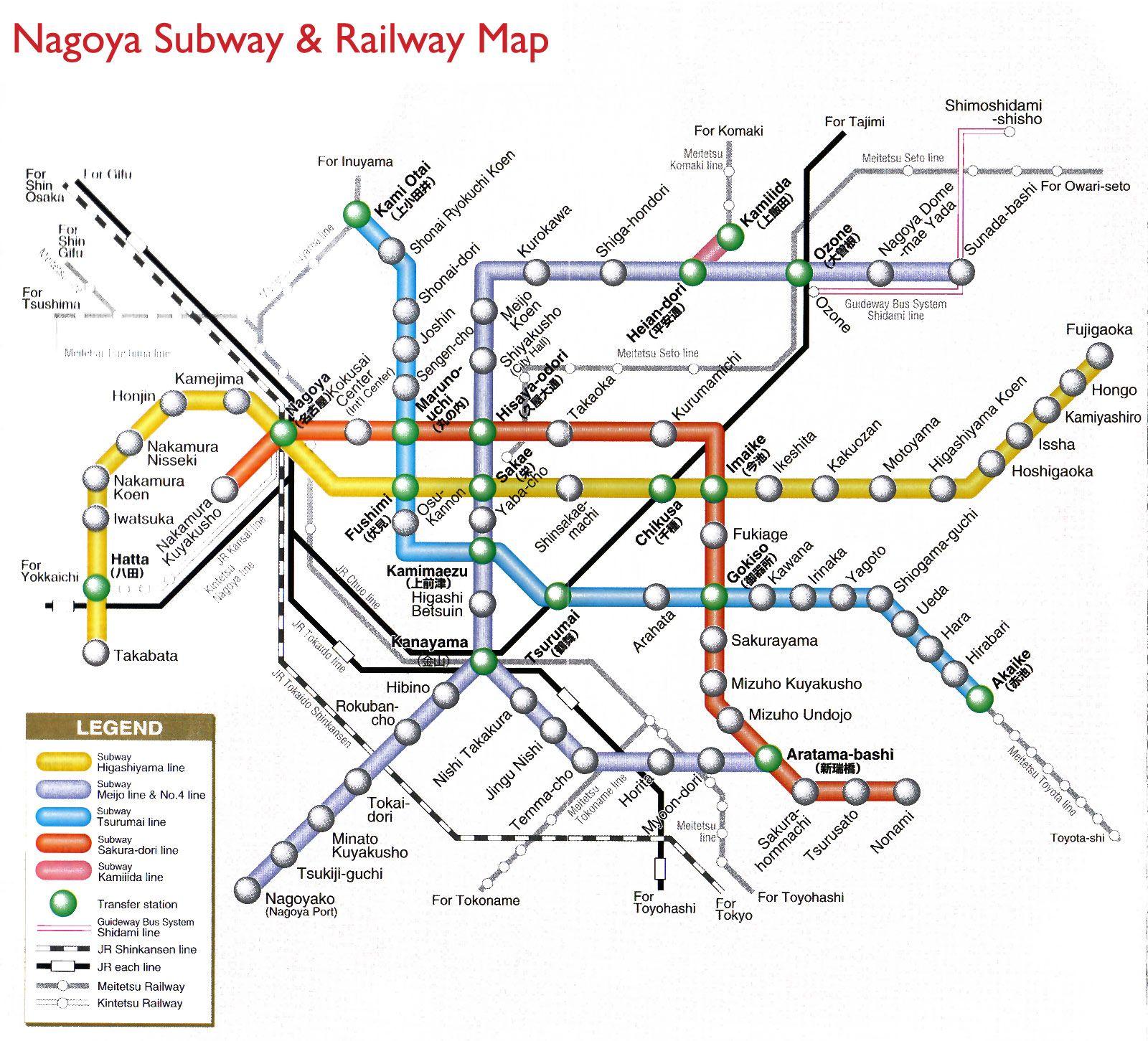 Nagoya subway railway metro maps of the world pinterest japan gumiabroncs Gallery