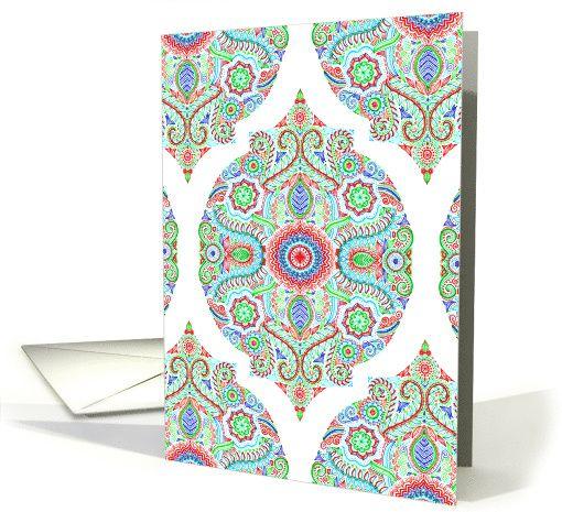 Decorative Christmas Moroccan Doodle Pattern - blank inside card #blank #Christmas #greetingcard #micklyn
