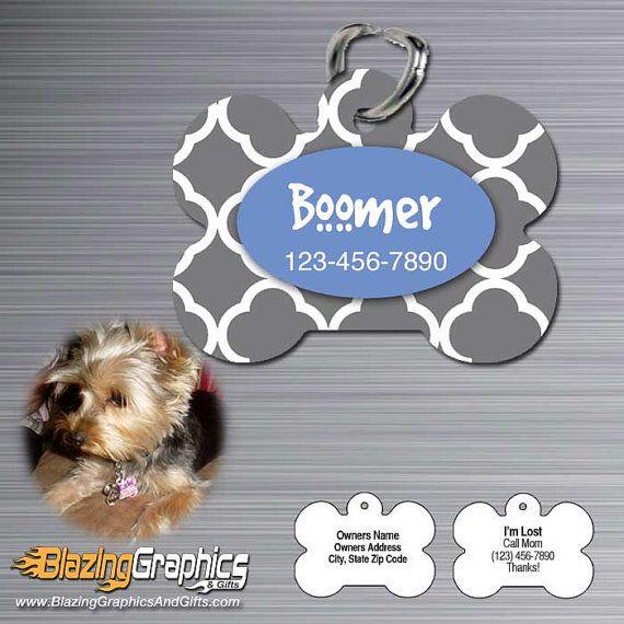 Personalized Pet Tag Identification ID tag cat dog name - bone shaped - Quatrefoi pattern