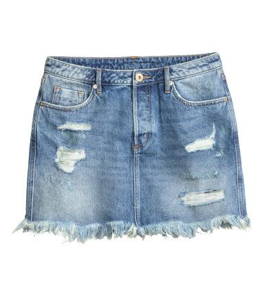 b297b4086cd6 Sliten jeanskjol | Denimblå | Dam | H&M SE | Bottoms in 2019 | Mode ...