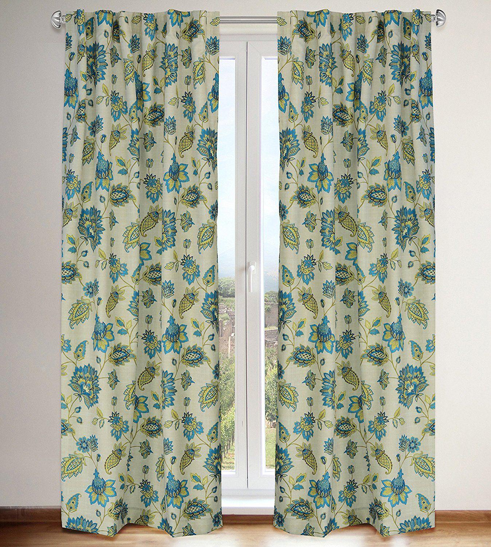Irene Jacobean Floral Print Hidden Tab Curtain Panels (Set Of 2) 54x88 In