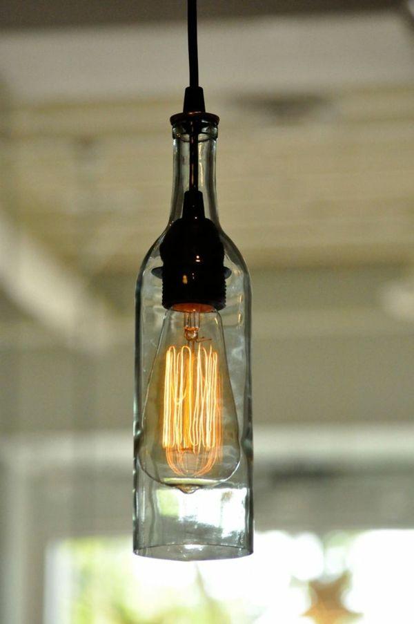 Pendelleuchten Diy Lampe Aus Weinflasche Zimmer Dekoration