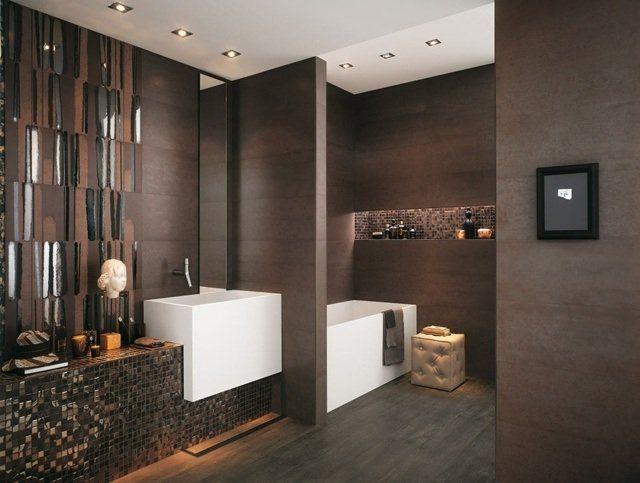 Carrelage de salle de bains original \u2013 90 photos inspirantes Dark