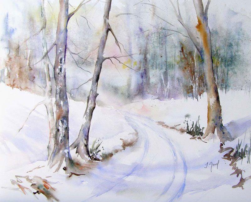 Riviere Sous La Neige Arbres En Aquarelle Peinture Paysage