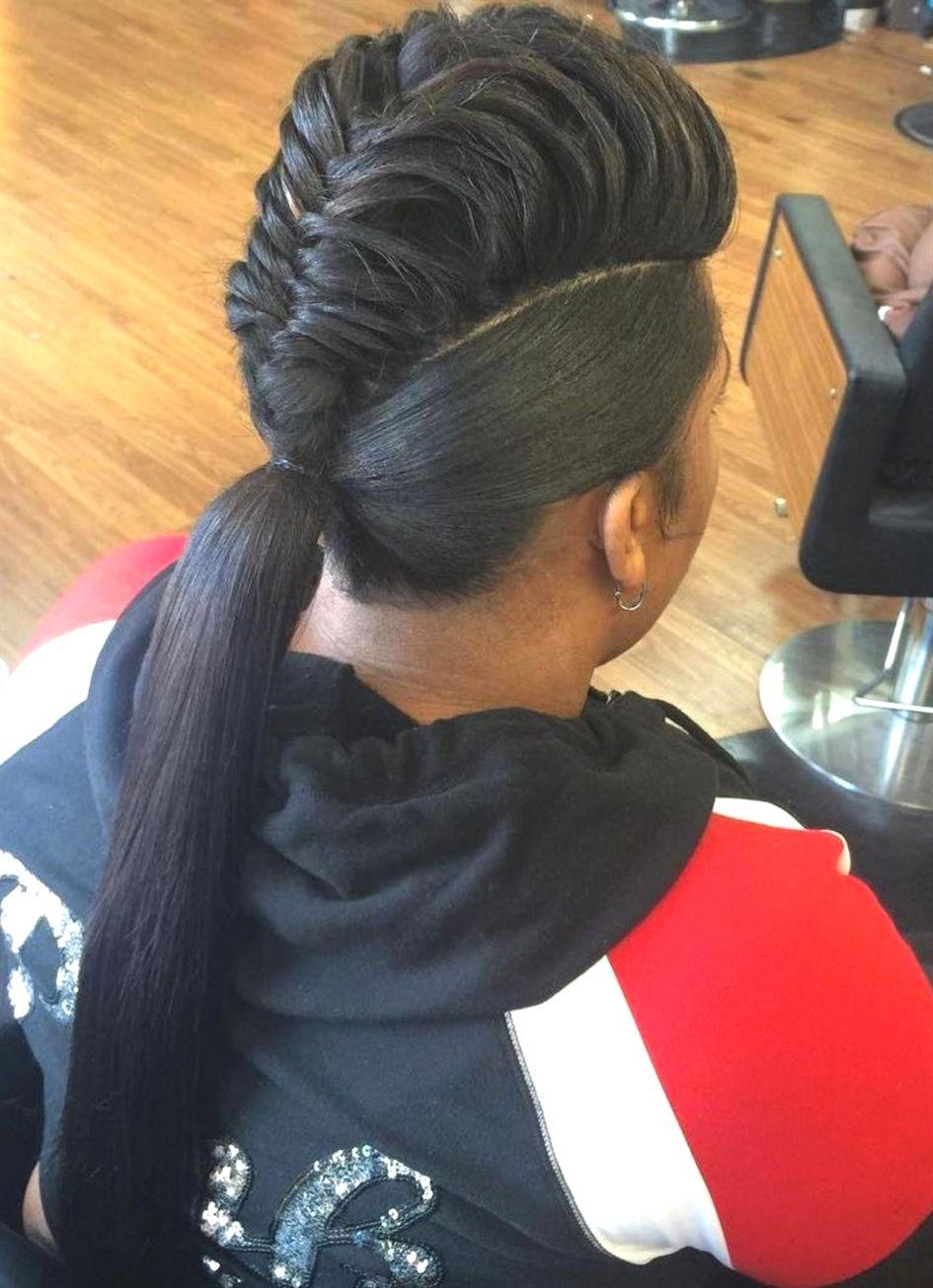 Mohawk braid into pony for black women FishBraid fishtail braids