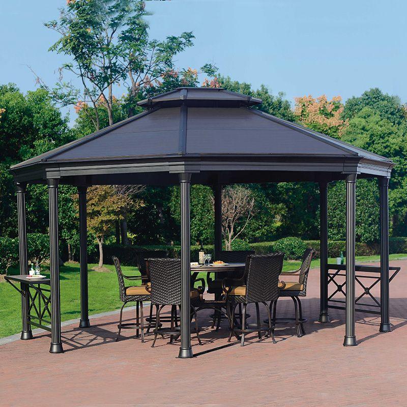 16 X 14 Hardtop Gazebo Metal Steel Aluminum Roof Post Outdoor For Patio Room Set