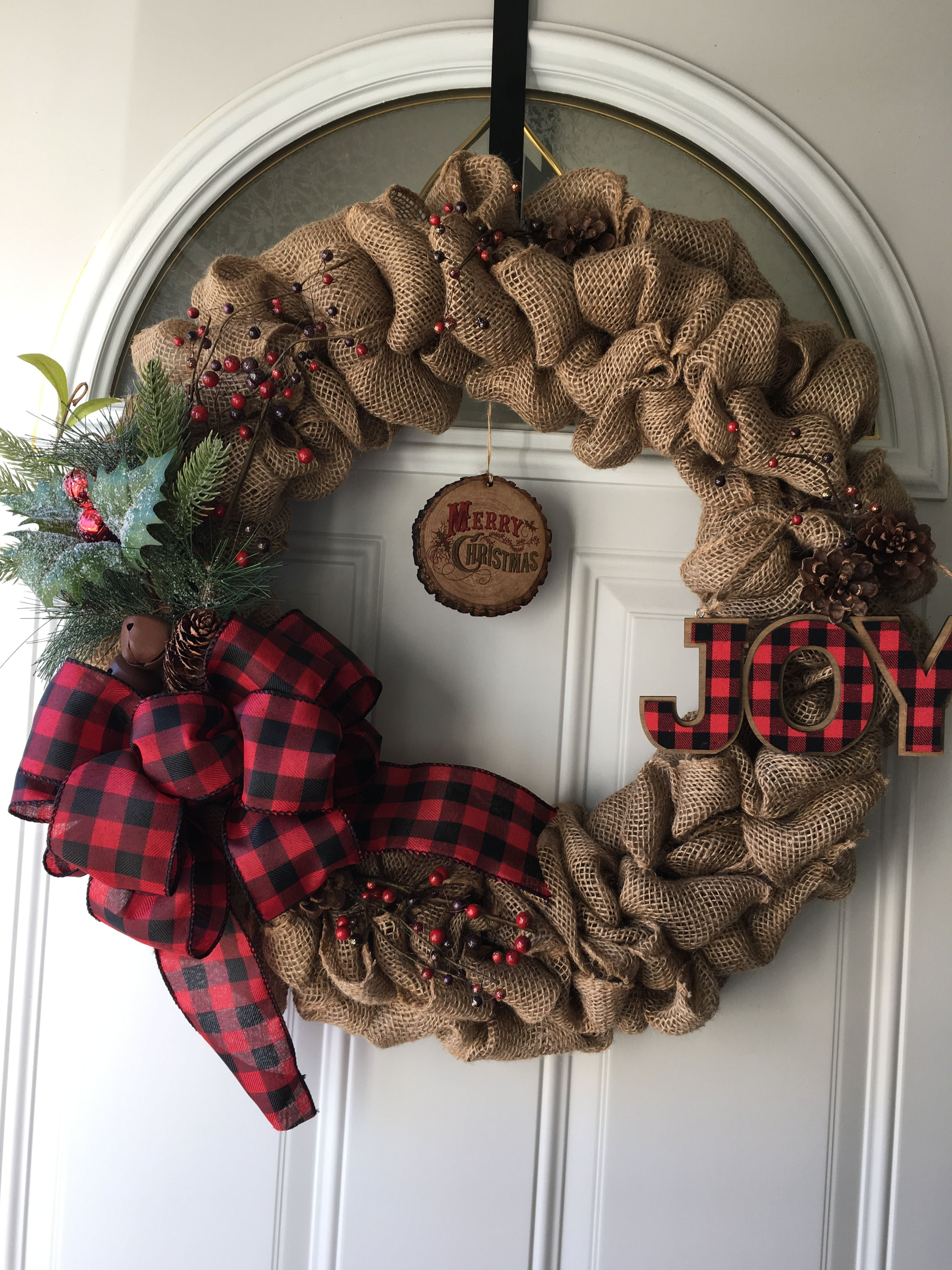 "Burlap buffalo plaid Christmas wreath it is about 20"" x 20"" $50 00"