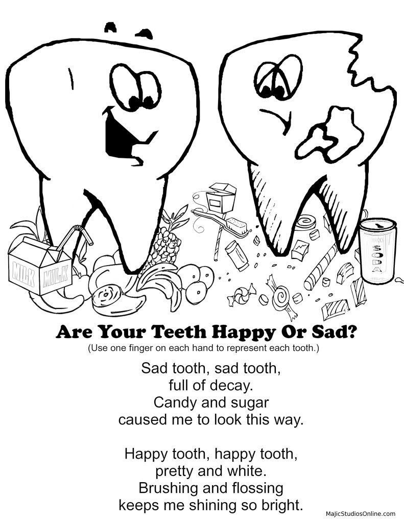 Teeth Coloring Pages Happy Tooth Sad Tooth Fingerplay Dental