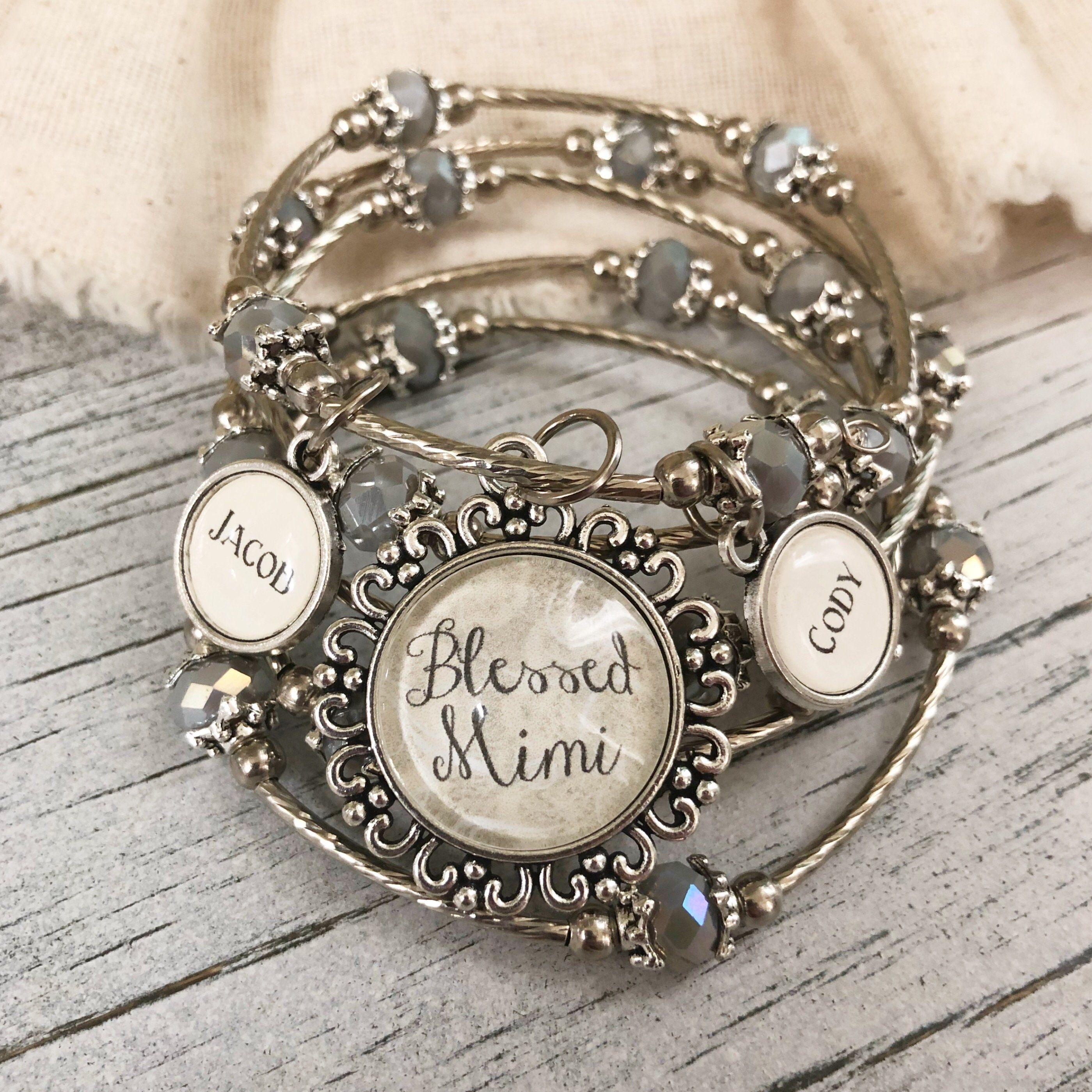 6 BLESSED Word Charms Silver Tone Metal