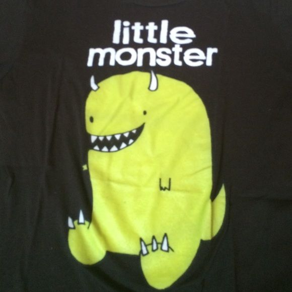 LITTLE MONSTER tshirt Black tshirt with cute graphic. Only worn 2 or 3 times. Childs extra large. Tops Tees - Short Sleeve