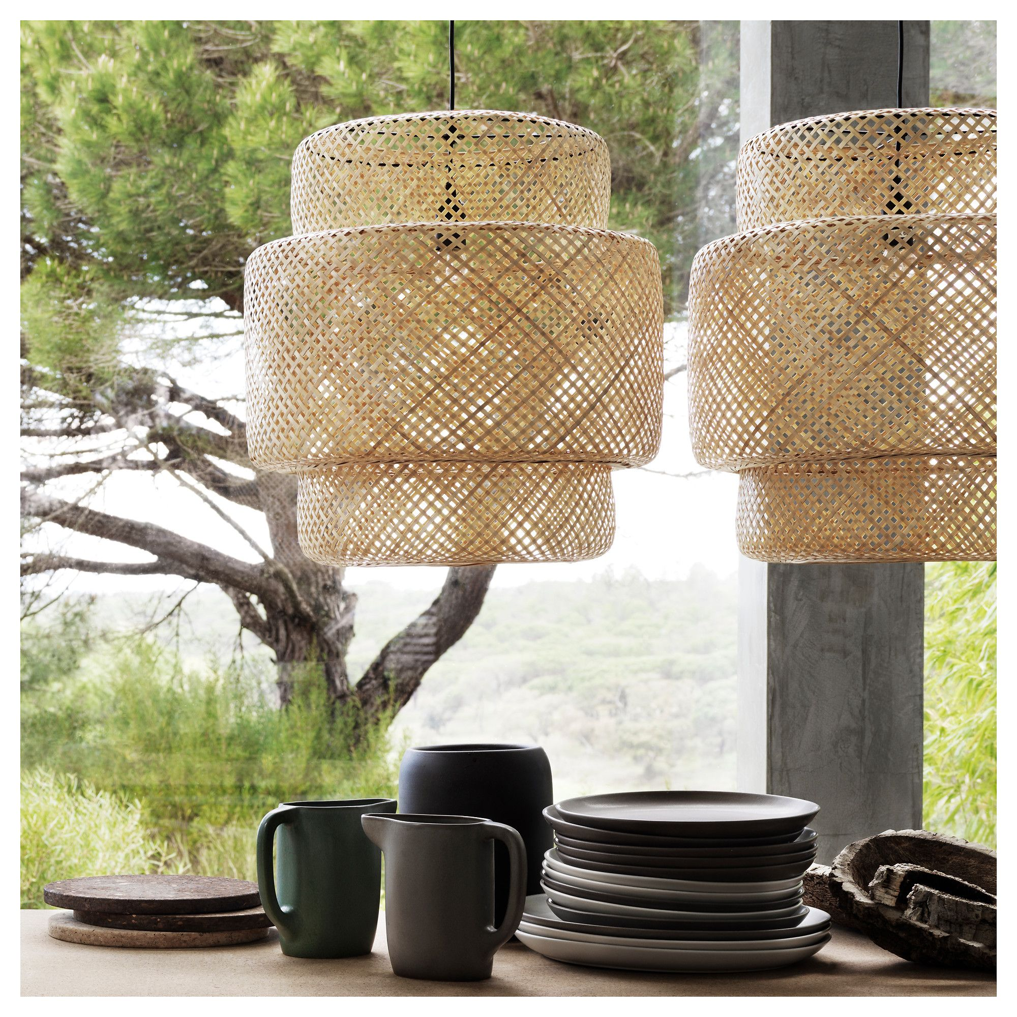 Sinnerlig pendant lamp bamboo pendant lamps lights and for Luminaire double suspension