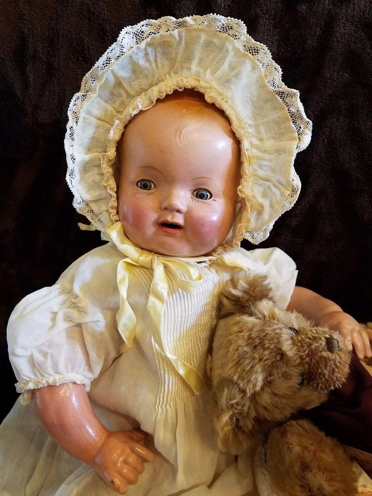 "Antique Vtge Composition Mama Baby Doll 20"" HUG ME KIDDIE PAL Doll SWEET OLDIE ~ | Dolls & Bears, Dolls, Antique (Pre-1930) | eBay!"