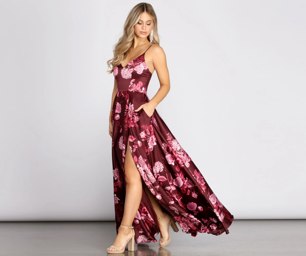 Lhea Satin Floral A Line Dress A Line Dress Dresses Dress Style [ 838 x 1000 Pixel ]
