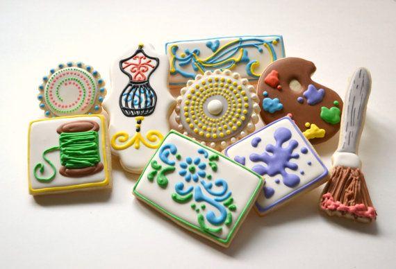 Cookies - 1 dozen Sewing Thread Paint Brush Palette by CustomCookiesbyJill