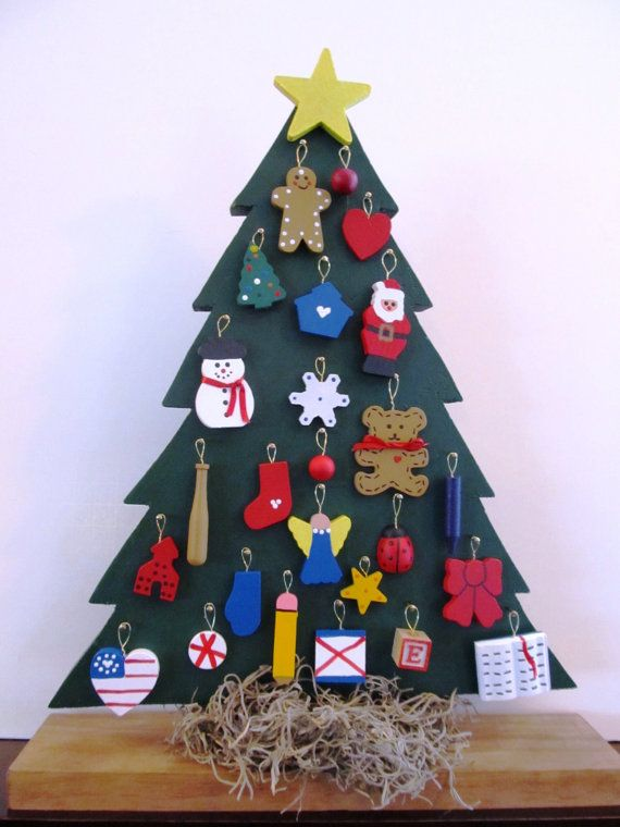 Advent Tree: Hand Crafted Wooden Tabletop Christmas Tree With Ornaments On  Etsy, $25.00