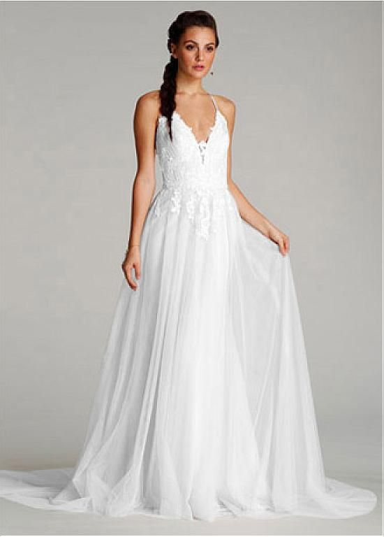 Alluring Tulle Halter Neckline Sheath Wedding Dresses with Lace ...