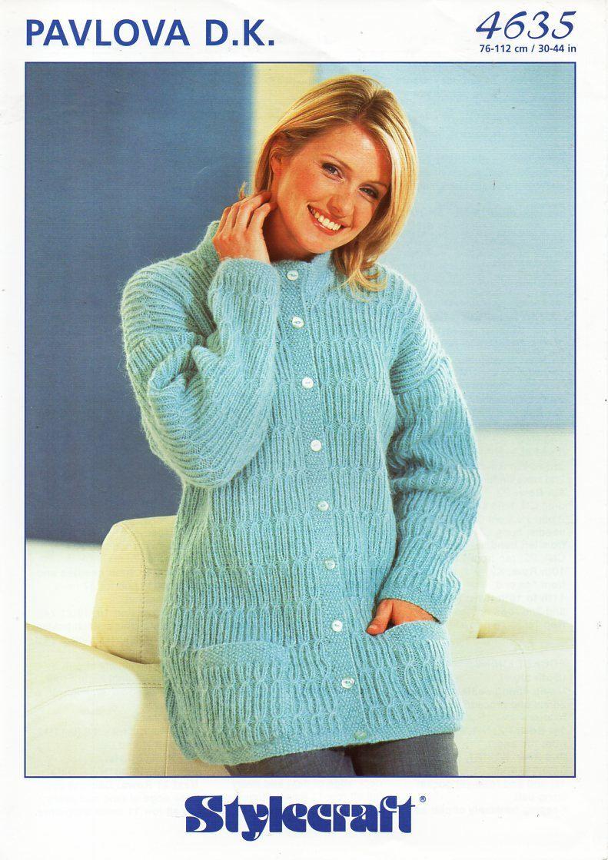 Original womens long DK cardigan knitting pattern Stylecraft 4638 ...