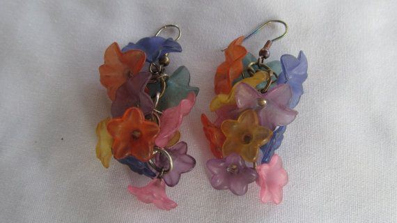 Cascading Floral Lucite Earings 1940s Style  by ReVintageLannie