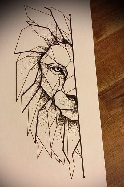 Half Of The Lion Face Tattoo Design Tattoos Geometric Drawing