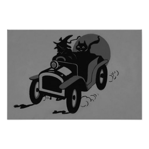 Monochrome Witch Black Cat Car Print Home Decor Halloween Posters - halloween decorated cars