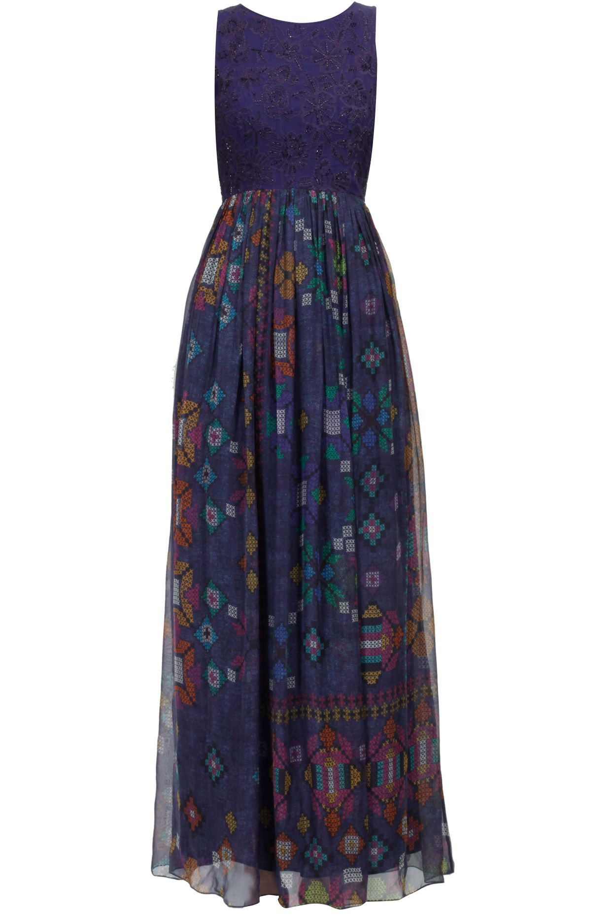 Blue cross stitch embroidered long dress available only at perniaus