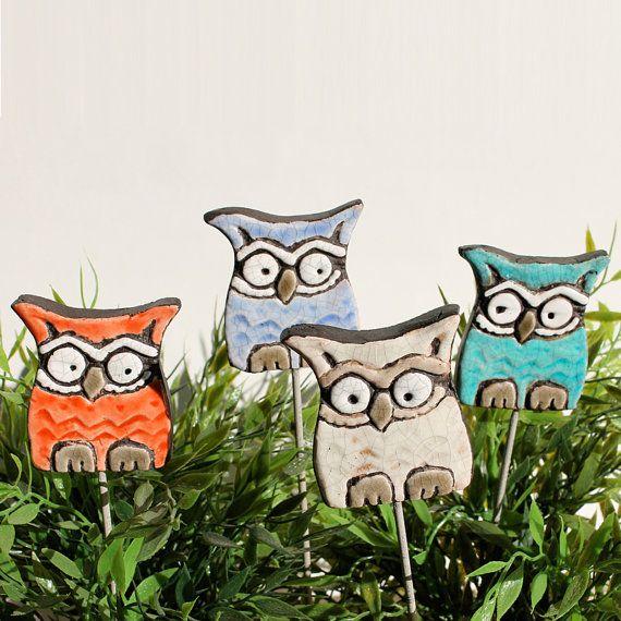 Owl Garden Art   Plant Stake   Garden Decor   Owl Ornament   Ceramic Owl    Small   White