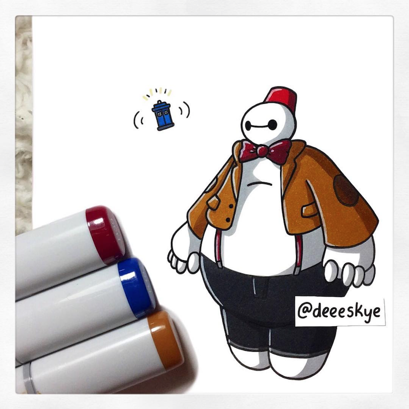 This Is A Redraw Of My BaymaxDoctor Who Doodle From Months Ago - Baymax imagined famous disney characters