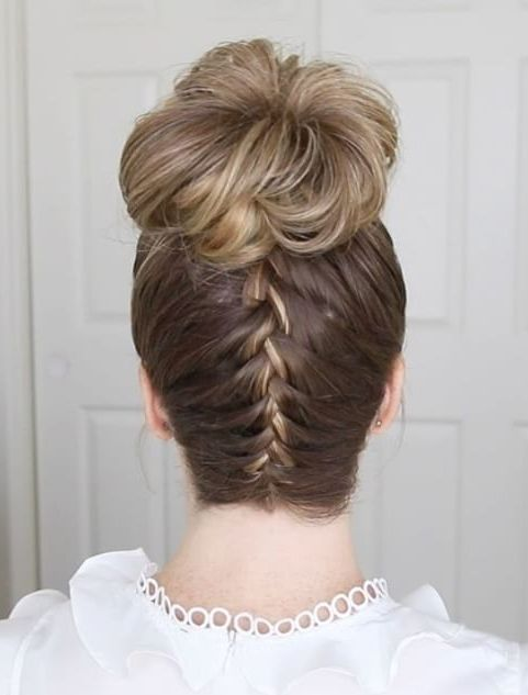 Back Braided Top Knot Hairstyles   Braided top knots, Knot ...