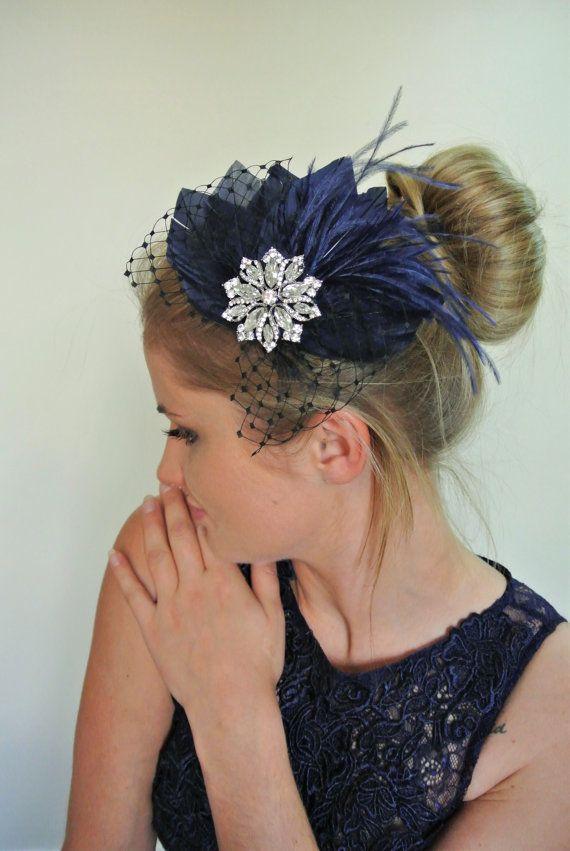 Navy hair clip - Wedding Hair Piece- Feather Wedding ...
