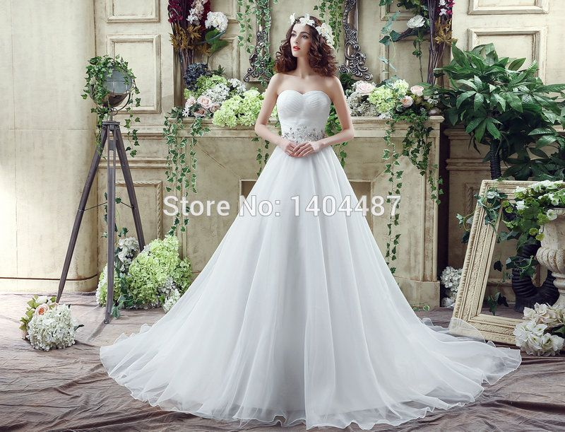 Aliexpress.com : Buy In Stock 2016 Elegant Beaded Sexy Beach Wedding Dresses Simple Brautkleid Chapel Train Organza Wedding Gowns Vestido De Novia from Reliable gown picture suppliers on Suzhou Relia Wedding&Event  | Alibaba Group