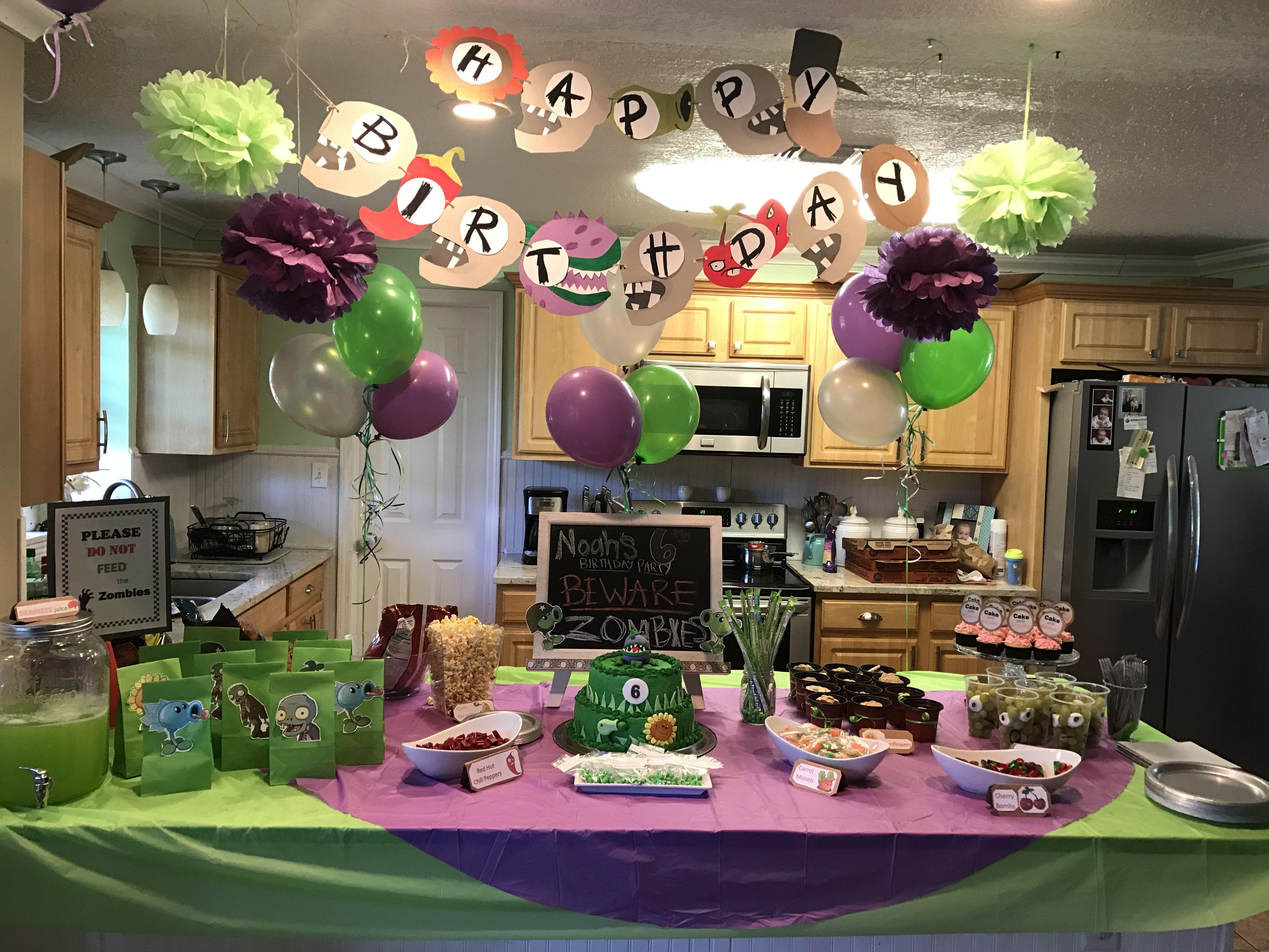 Boys birthday party Plants vs Zombie themed party Plants vs