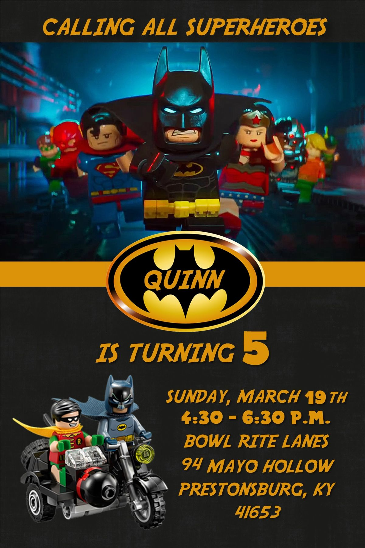 Lego batman birthday invitation contact me via email at aswiney01 lego batman birthday invitation contact me via email at aswiney01yahoo or stopboris Gallery