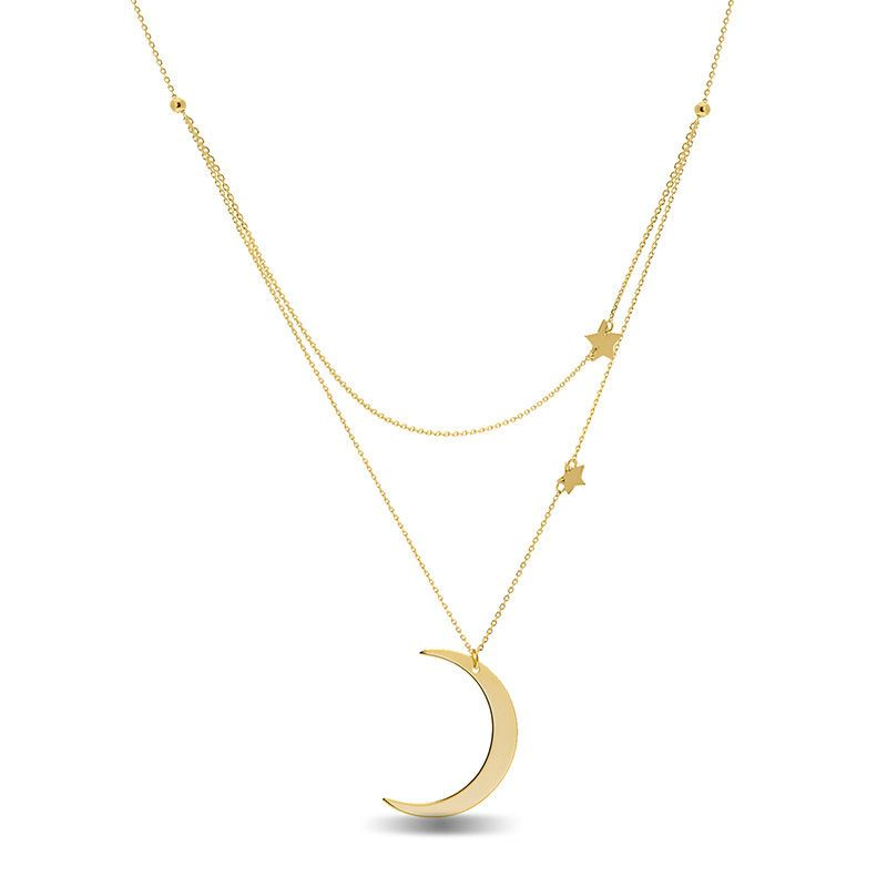 Double Star And Crescent Moon Double Strand Pendant In 14k Gold Zales Crescent Moon Jewelry Pendant Moon Necklace