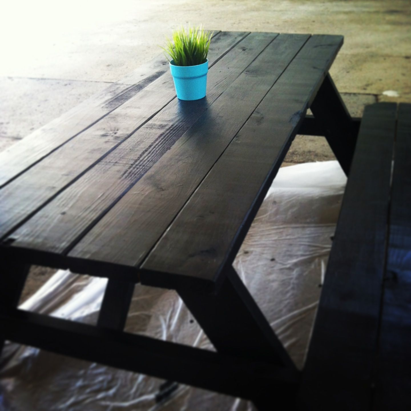 Picnic Tables Painted Black With A Pop Of Color Market