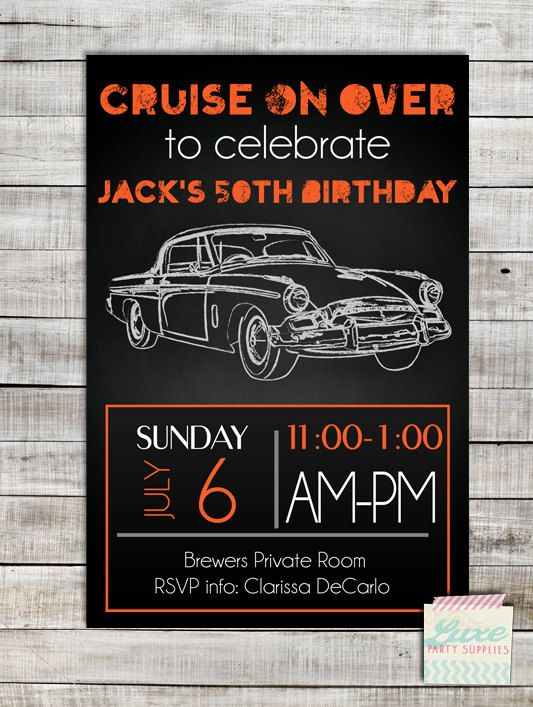 Vintage Car Custom Birthday Party Printable Invitation Orange Black Invite Customized Boy Man Child Adult Supplies By LuxePartySupply On