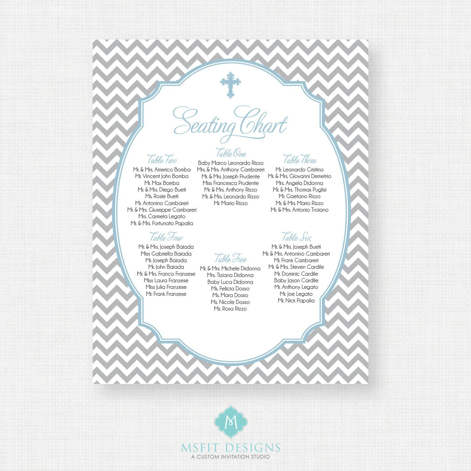 Christening Table Seating Plan Planner Chart Baby Shower Inspired by Eva Personalised Delectable style Wedding