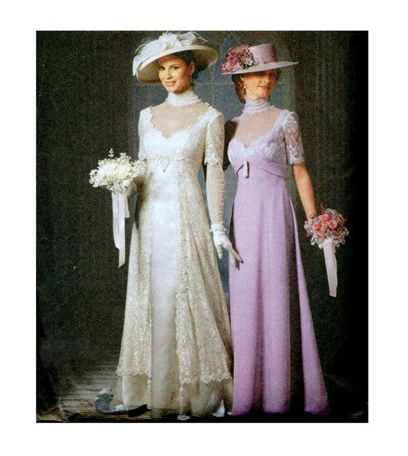 Gibson Wedding Dress Pattern Empire Waist Bridesmaid Gown Steampunk Costume Size 6 8 10 12