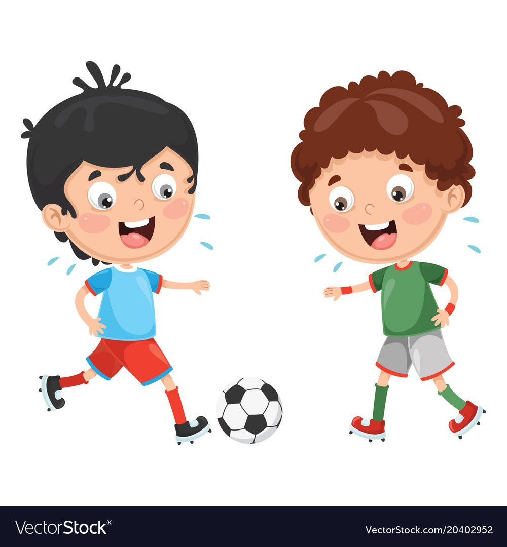 Kid Playing Football Download A Free Preview Or High Quality Adobe Illustrator Ai Eps Pdf And Hi Kids Playing Football Kids Playing Clipart Cartoon Clip Art
