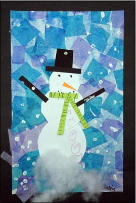 Tissue Paper Background For Snowman Door Decoration For
