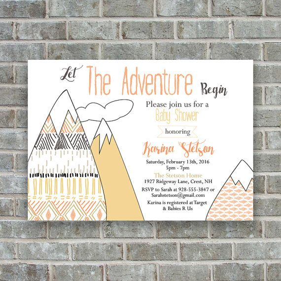 baby shower invitation let the adventure begin by poppinsink | lil, Baby shower invitations